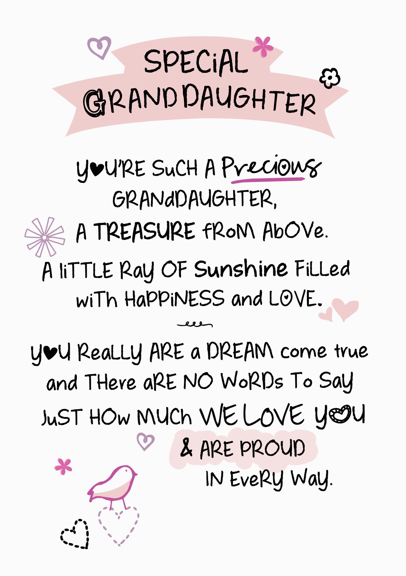 special granddaughter inspired words greeting card blank