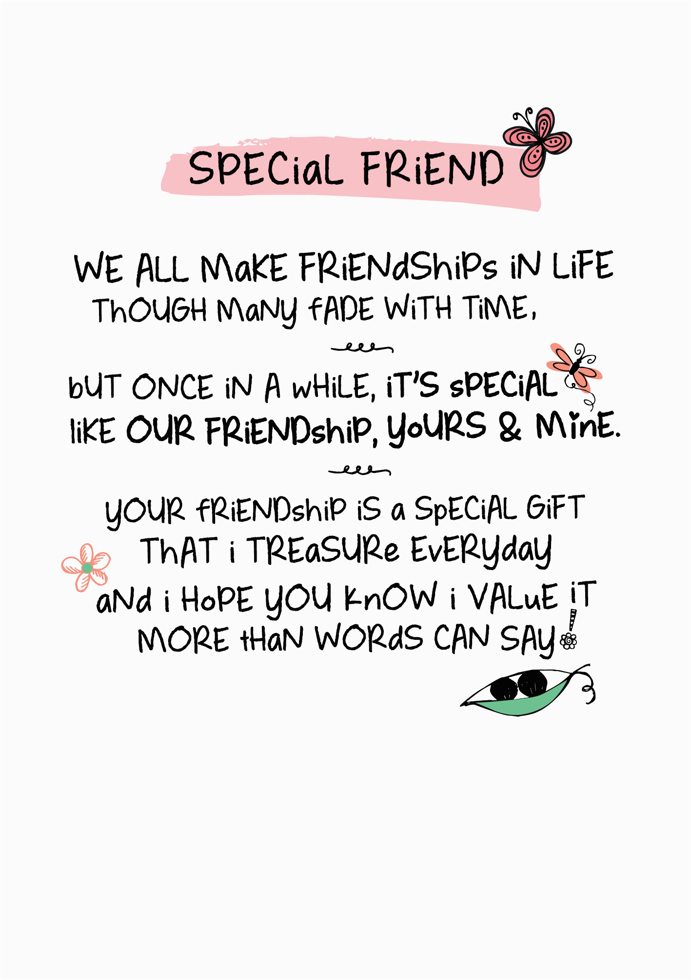 kciwptr050 special friend inspired words greeting card blank inside