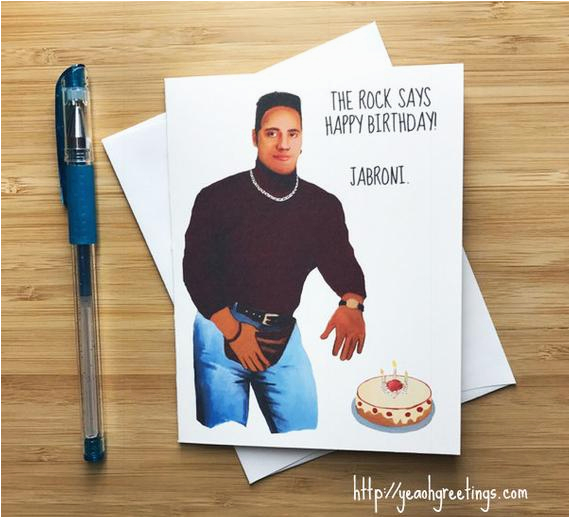 Wwe Birthday Cards Funny Rock Birthday Card the Rock Dwayne Johnson Wwe Rock