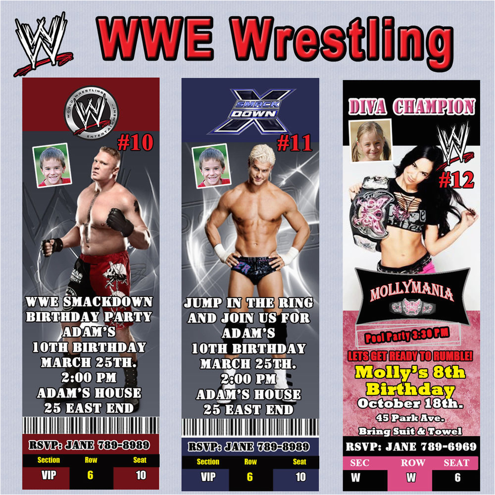 Wwe Birthday Invites Wrestling Invitation Thank You Cards Or Of Jpg
