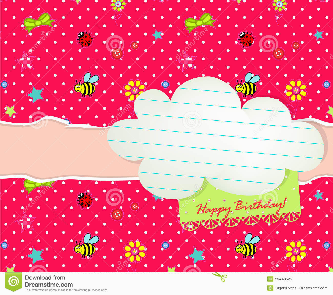 baby happy birthday card with cloud tag stock vector