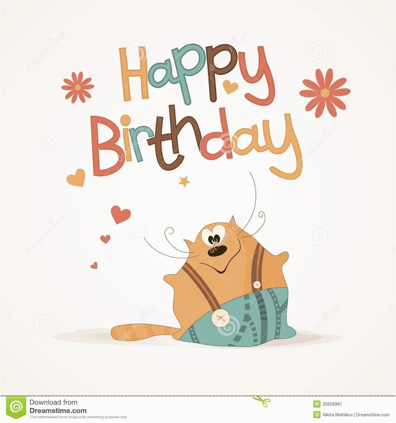 cute happy birthday card stock vector image of bright