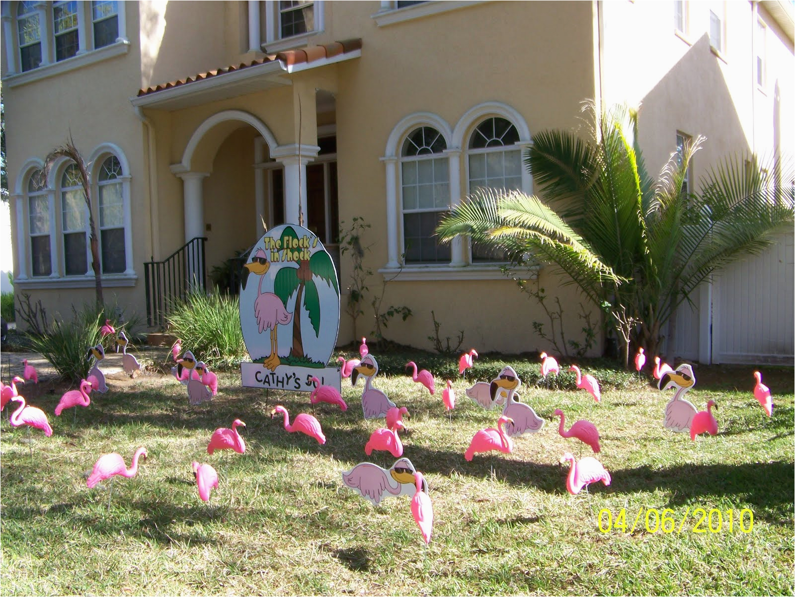 pink flamingos happy birthday lawn