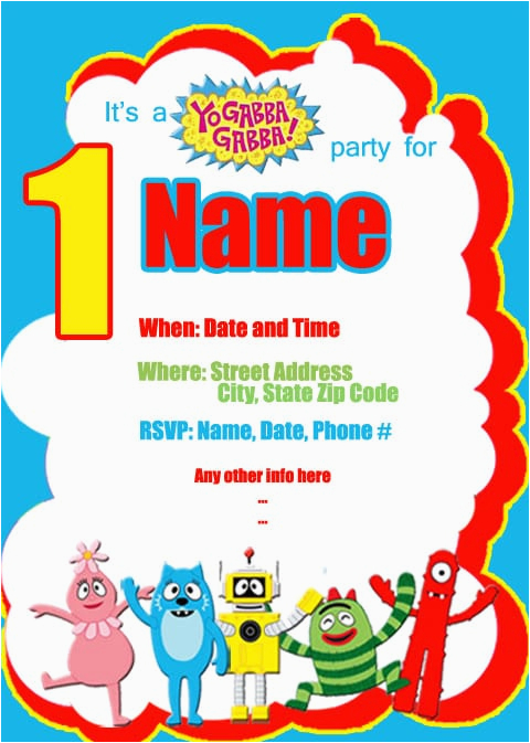 yo gabba gabba birthday invitation template