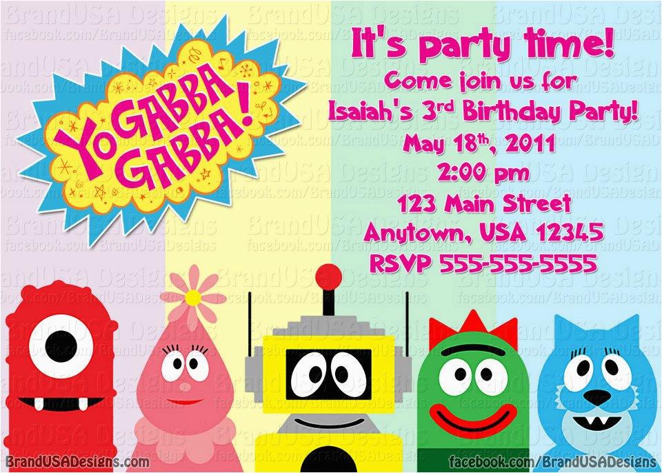 yo gabba gabba birthday invitations