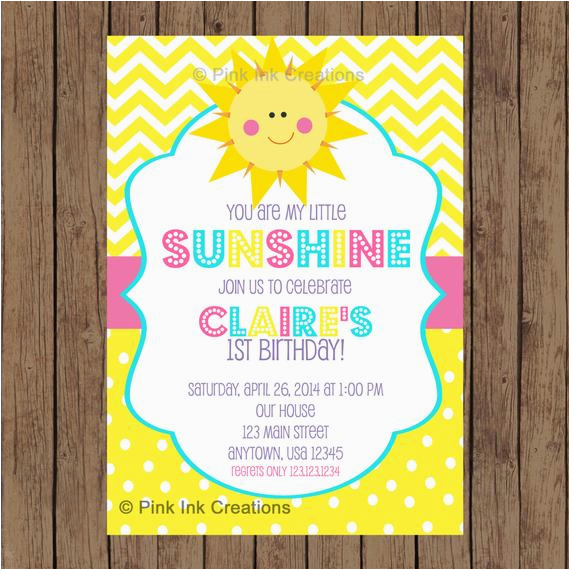 You are My Sunshine 1st Birthday Invitations You are My Sunshine Birthday Invitation Garden Party Spring