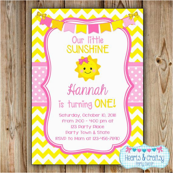You Are My Sunshine 1st Birthday Invitations Invitation