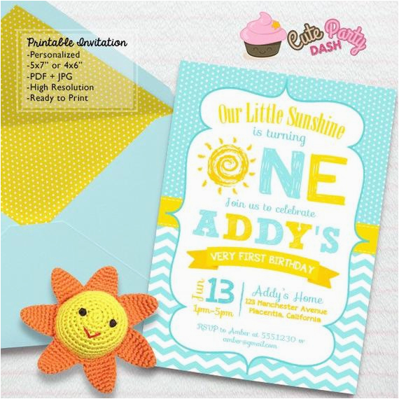 You Are My Sunshine 1st Birthday Invitations