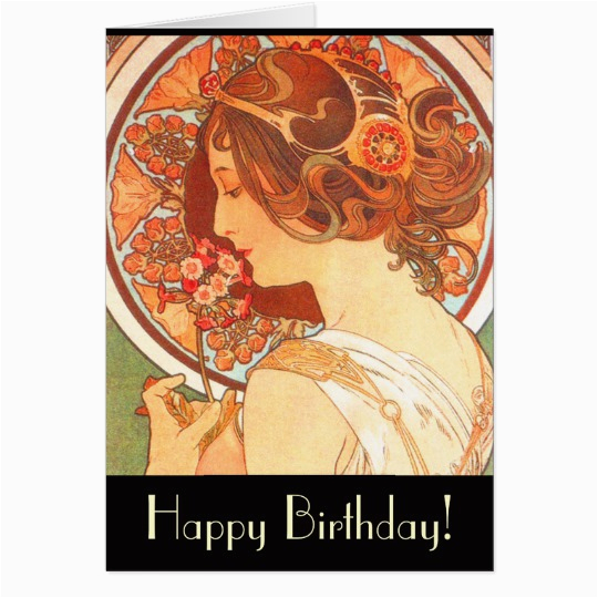 art nouveau lady birthday card zazzle com