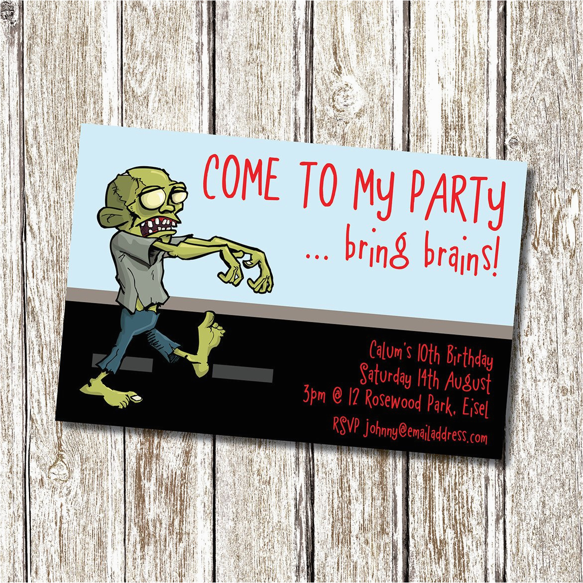Zombie Birthday Party Invitations Zombie Birthday Party Invitation Printable and Personalised