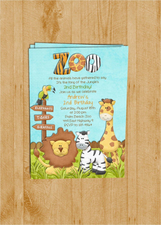 Zoo Birthday Invitations Free Zoo Birthday Invitation Jungle Animals Custom and
