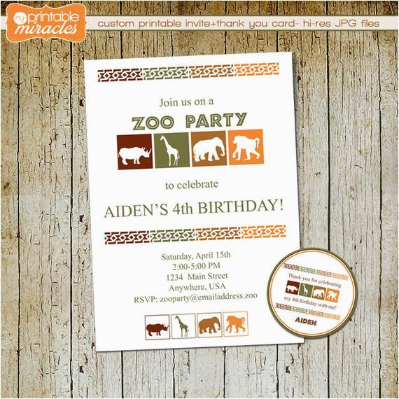 Zoo Birthday Invitations Free Zoo Birthday Invitation Printable Safari Party Invite Thank