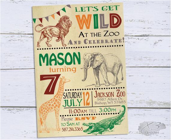 zoo birthday invitations jungle 1st