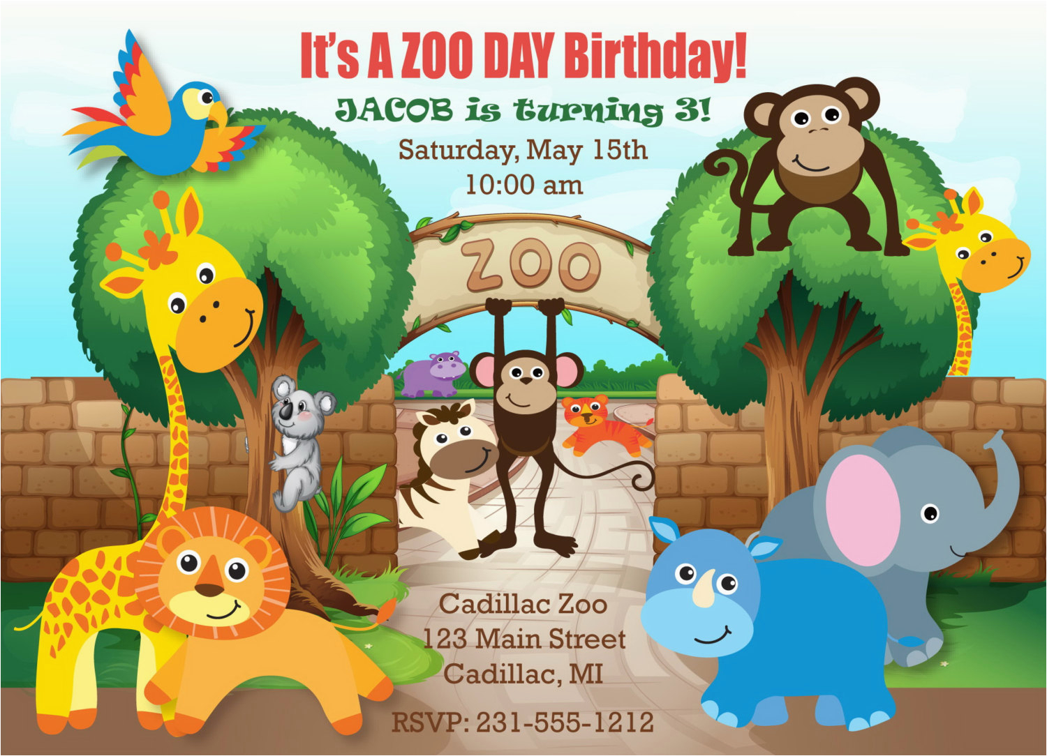 Zoo Birthday Invitations For Your Invitation Templates By Implementing Enchanting Motif Concept 12