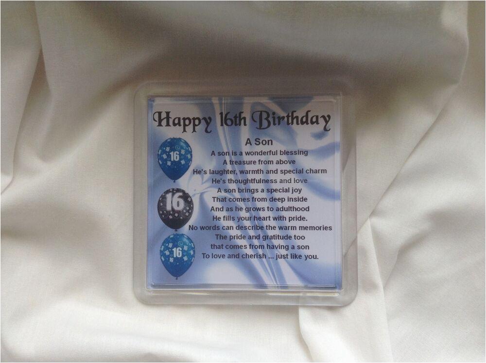 Happy 16th Birthday son Quotes Personalised Coaster son Poem 16th Birthday Design