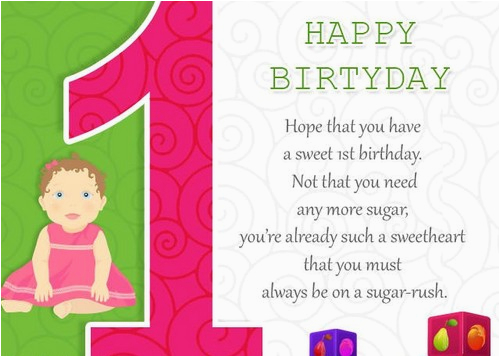 Superb First Birthday Quotes For Baby Girl Happy Birthday Personalised Birthday Cards Rectzonderlifede