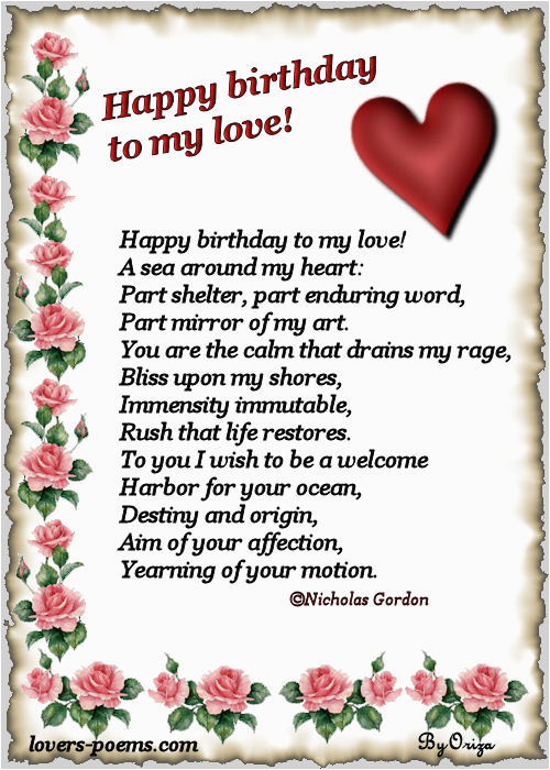 Happy Birthday Quotes for A Lover Happy Birthday My Love oriza Net Portal Lovers Poems