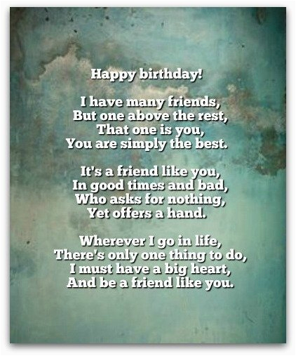best buddy birthday poem
