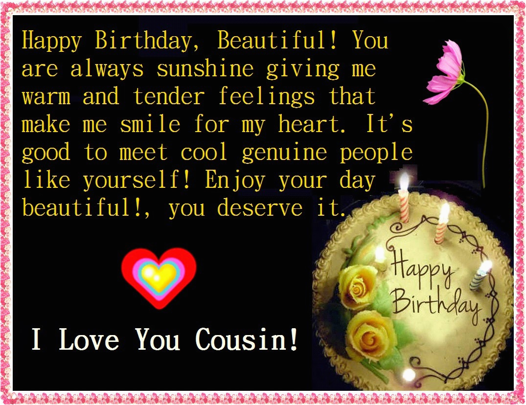 Happy Birthday Quotes to A Cousin Birthday Quotes for Cousin Female Quotesgram