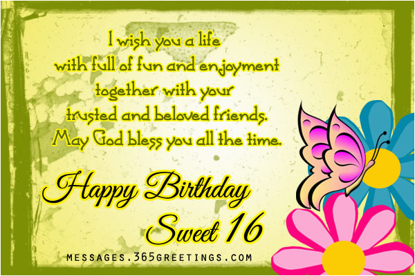 Happy Birthday Sweet Sixteen Quotes 16th Birthday Wishes 365greetings Com