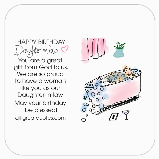 Happy Birthday To My Daughter In Law Quotes Free Cards