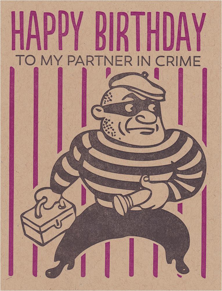 Happy Birthday to My Partner In Crime Quotes Black Heart Letterpress Happy Birthday Partner In Crime