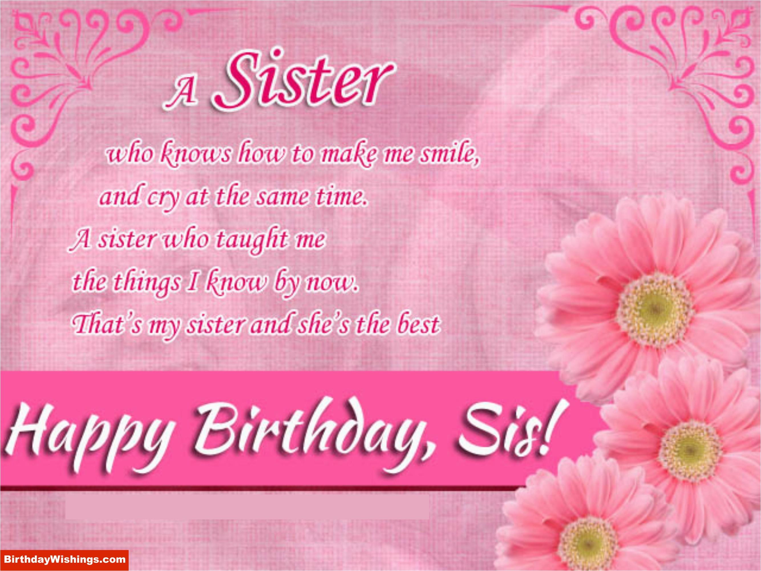 wish happy birthday sister