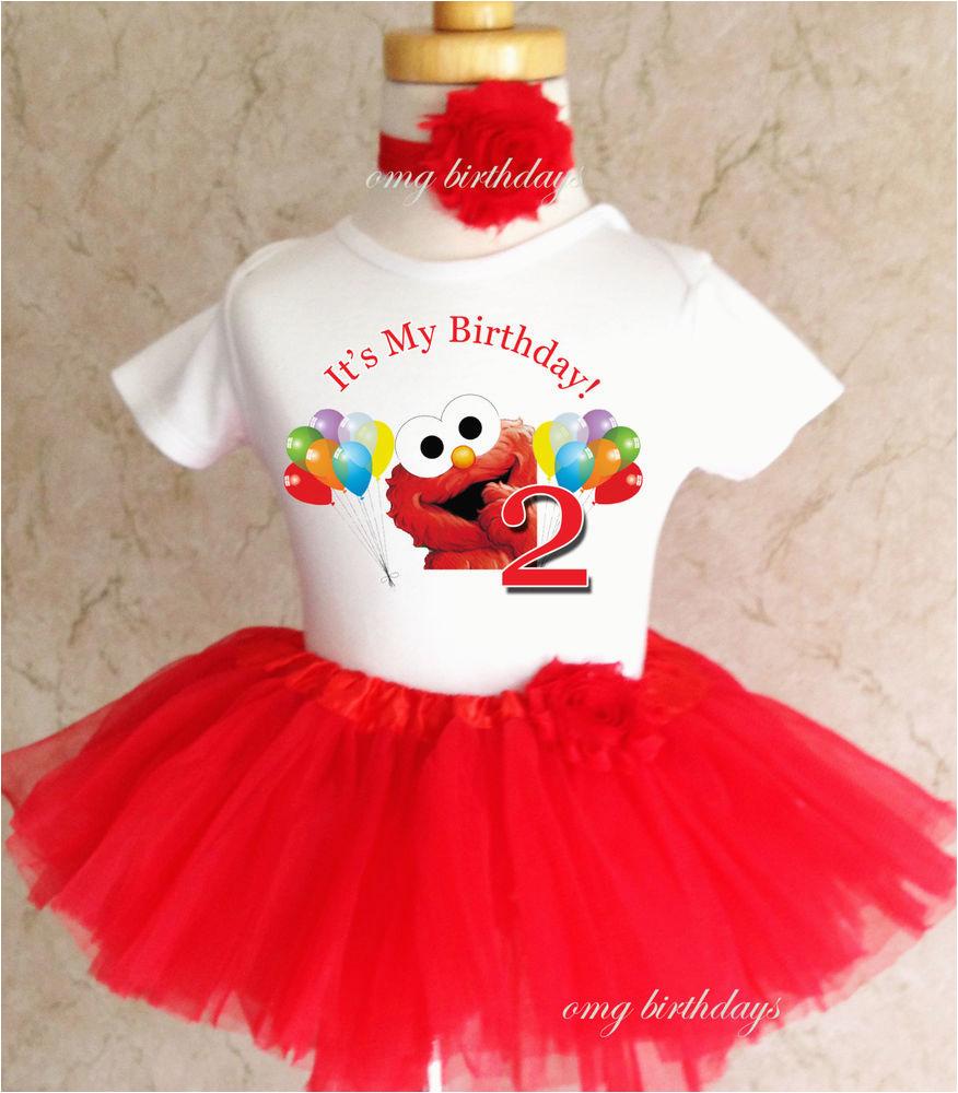 2nd Birthday Girl Outfits Elmo Red Rainbow Balloons 2nd Second Birthday Shirt Tutu