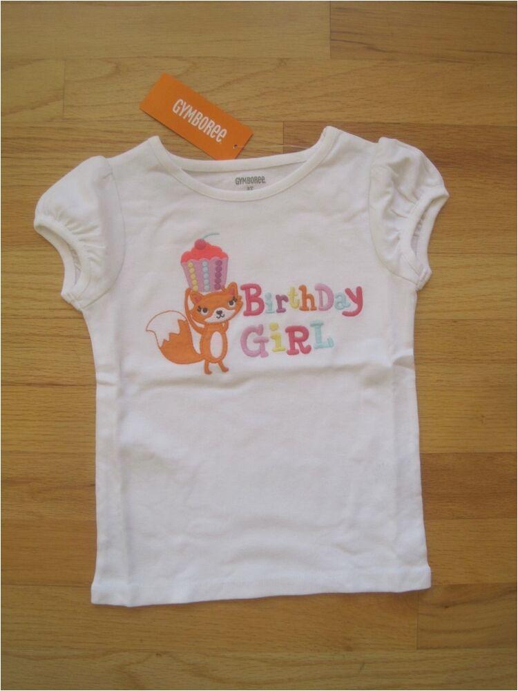 3t Birthday Girl Shirt toddler Girl Gymboree Fox Cupcake Birthday Girl White