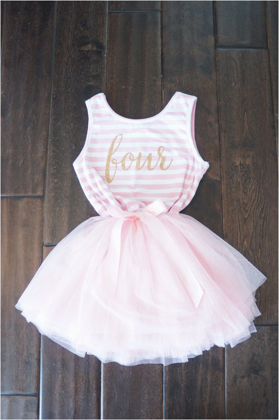 fourth birthday outfit dress with gold