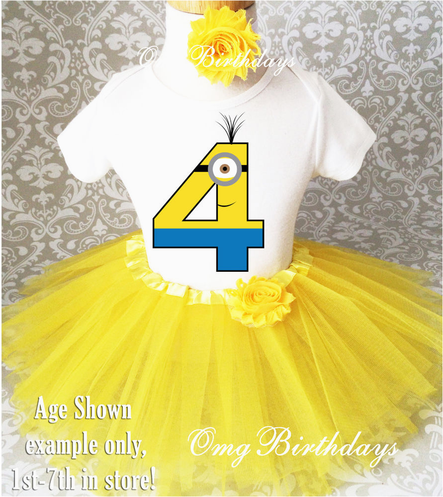 4th Birthday Girl Outfits Yellow Minion Girl 4th Fourth Birthday Tutu Outfit Shirt