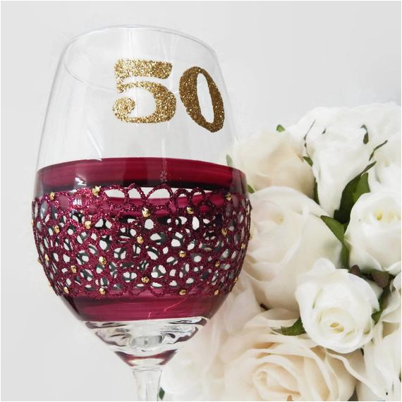 50th birthday wine glass gift for her