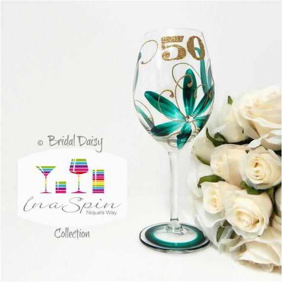 50th Birthday Mementos 50th Birthday Wine Glass Gifts and Mementos 50th Birthday