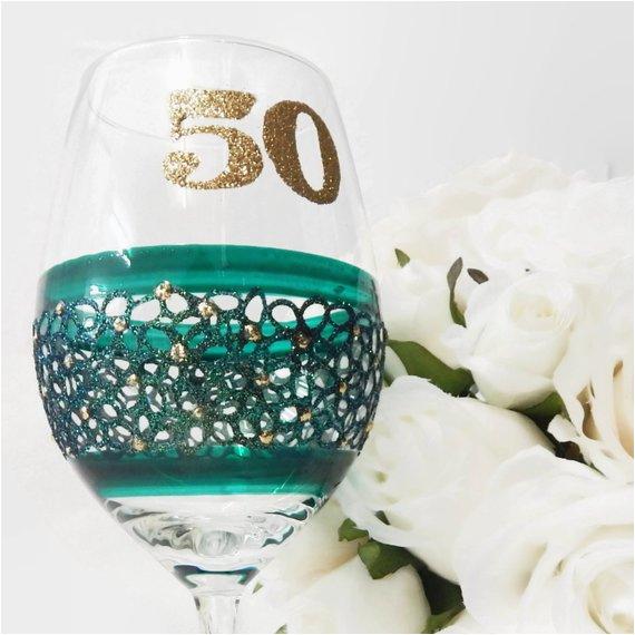 emerald 50th birthday wine glass gifts