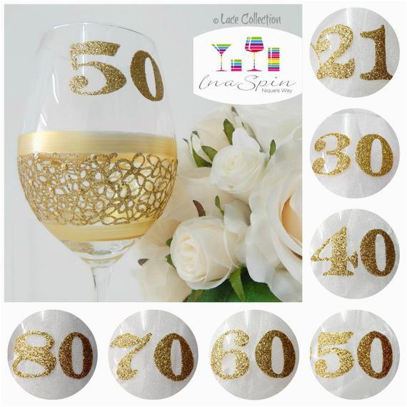 gold 50th birthday personalised wine