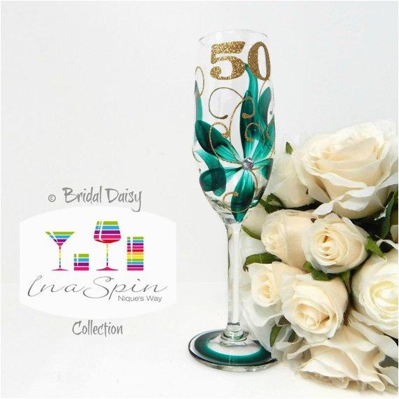 50th birthday champagne glass emerald