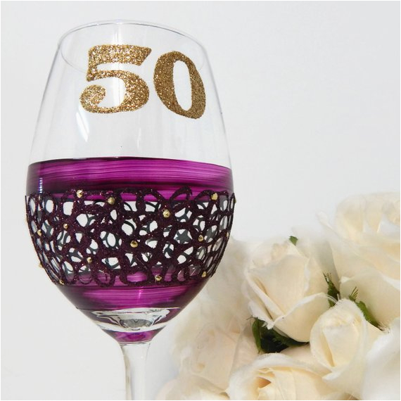 50th birthday wine glass gifts and