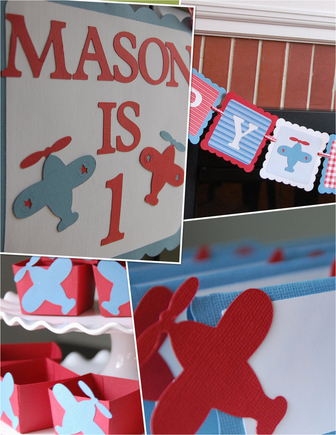 Airplane Happy Birthday Banner Airplane Party Package Happy Birthday Banner Door Sign