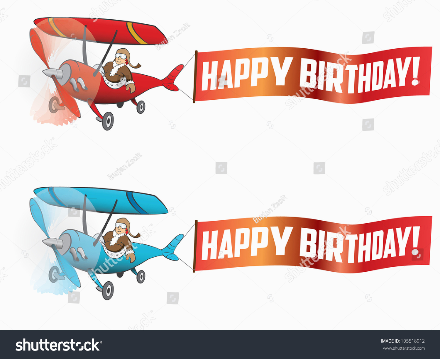 stock vector flying aircraft with happy birthday banner