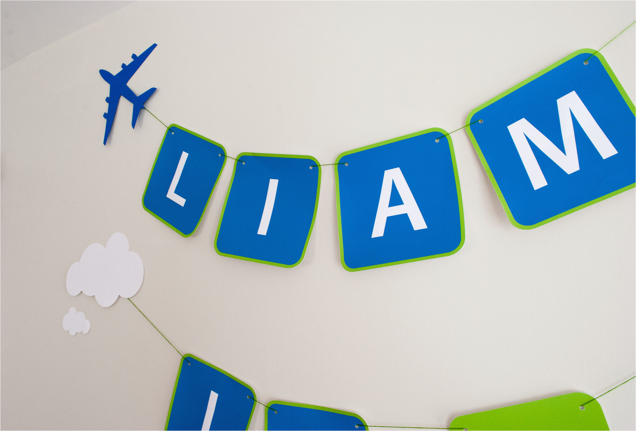 printable airplane personalized birthday party banner for a modern and classy airplane birthday party