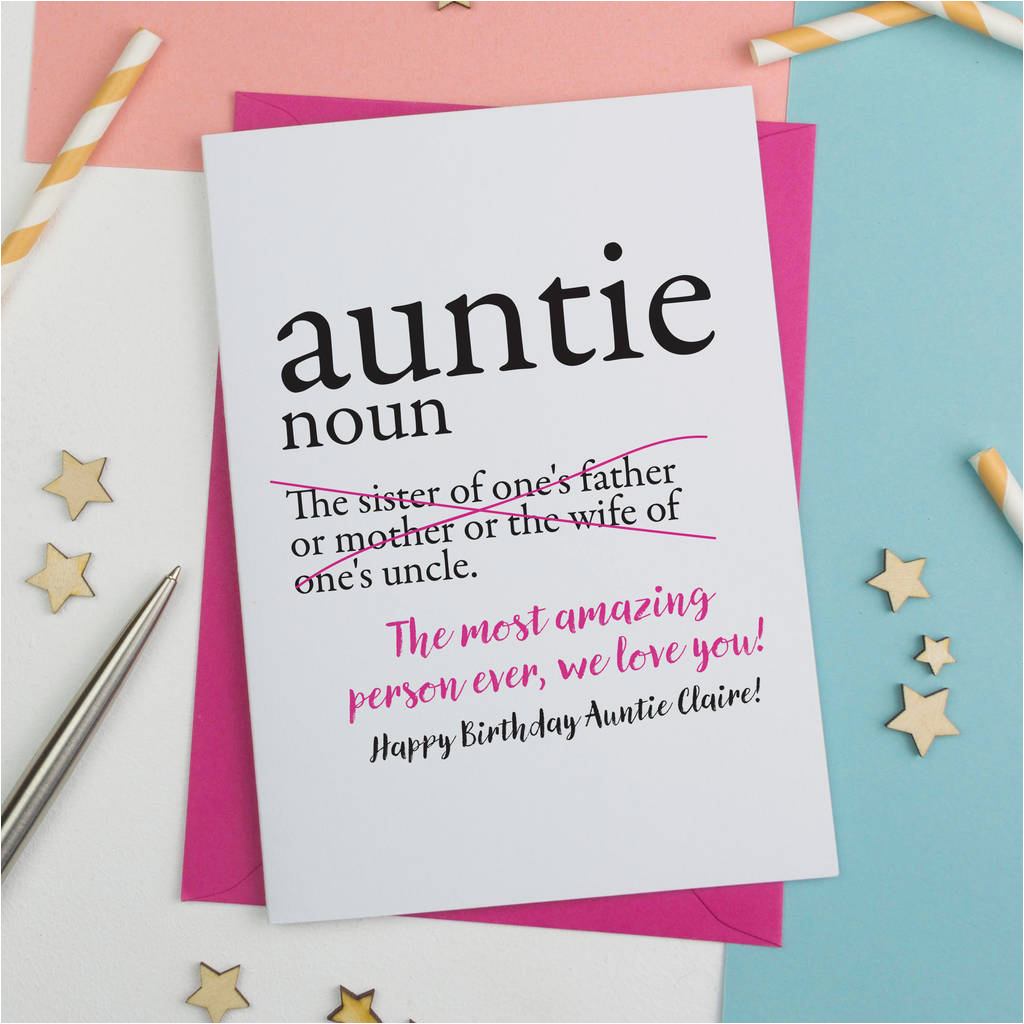personalised aunty auntie or aunt birthday card