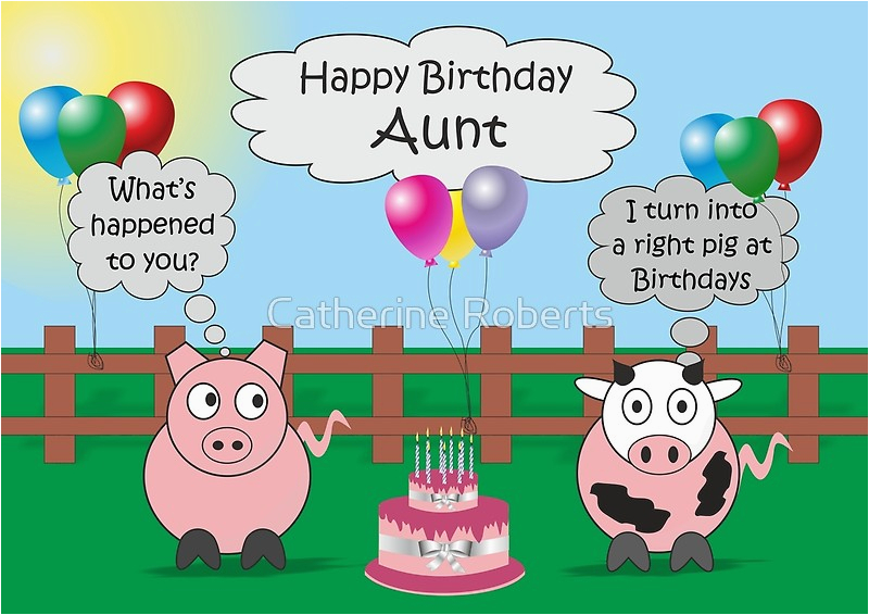 9617747 funny animals aunt birthday hilarious rudy pig and moody cow p greeting card