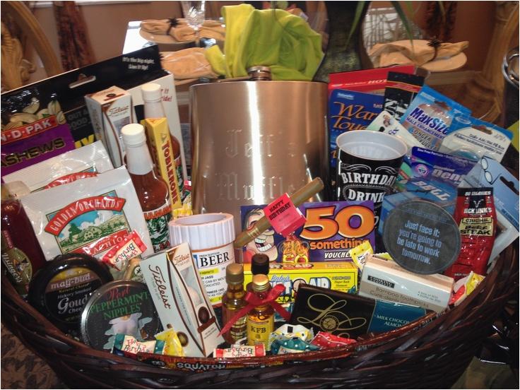 50th birthday gag gift basket ideas