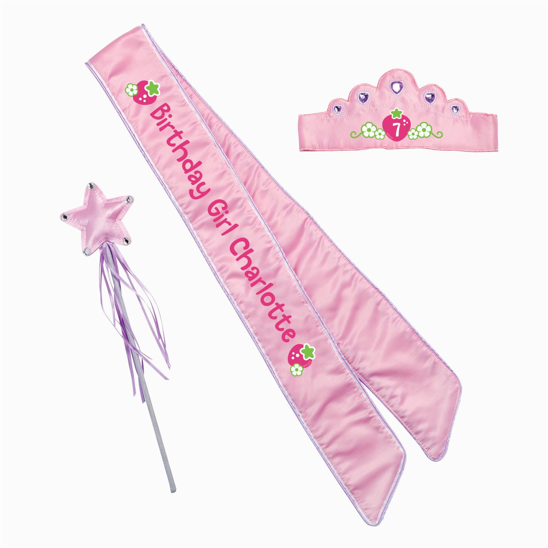 Birthday Girl Crown and Sash Strawberry Shortcake Birthday Girl Pink Sash and Crown Set
