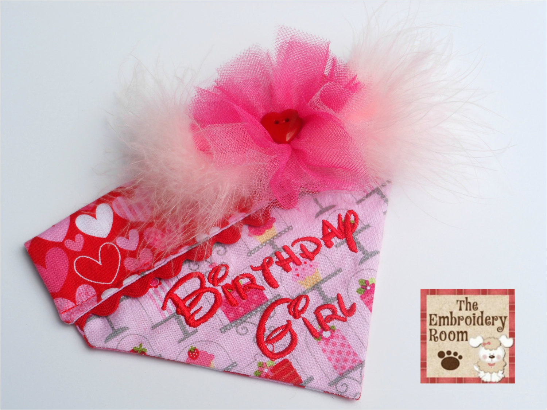 birthday girl dog bandana size super