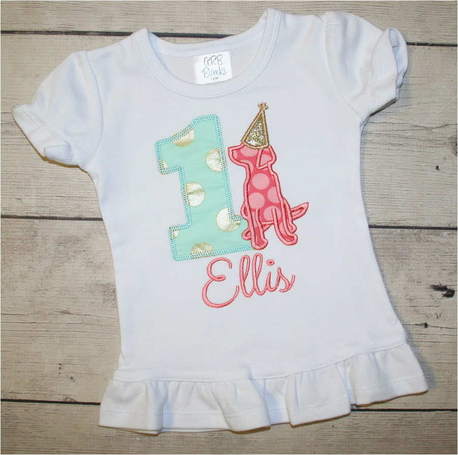 puppy dog birthday shirt coral mint and