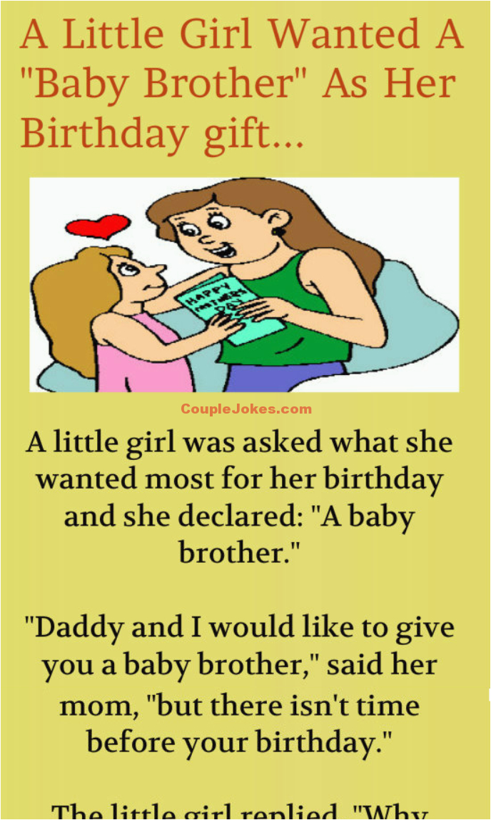 a little girl wants a baby brother for her birthday