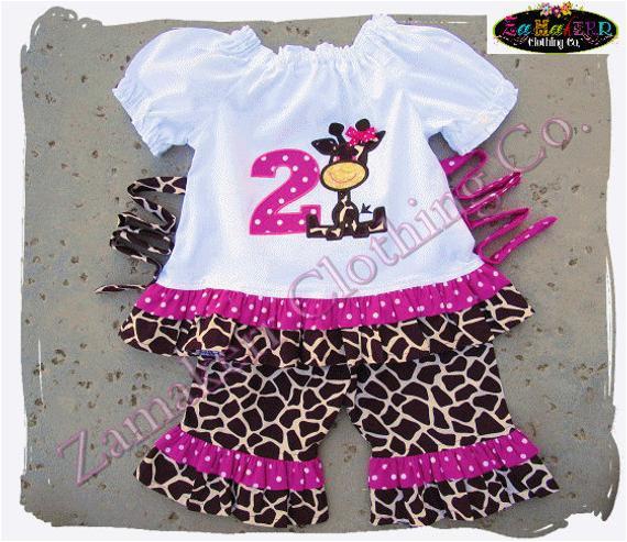 giraffe girl outfit set birthday girl