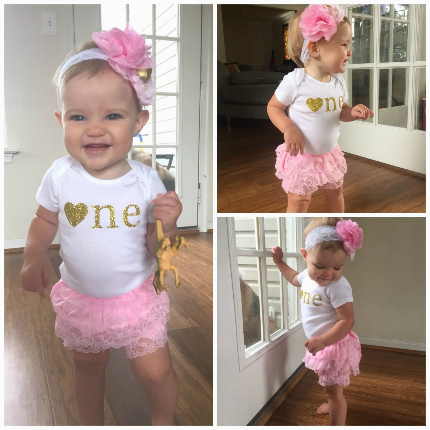 pink and gold first birthday outfitfirst