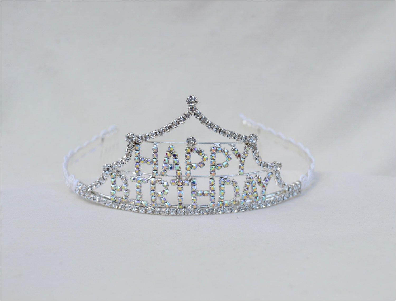 happy birthday rhinestone tiara girls